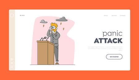 Panic Attack in Public Place Landing Page Template. Character Panic Disorder on Tribune Breathing in Paper Bag, Fear