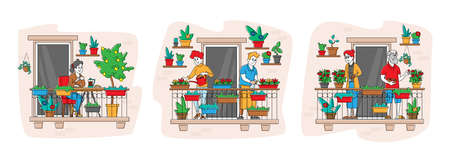 Set Male and Female Characters Care of Home Plants at Balcony Garden Seniors Harvesting Ripe Tomatoes, Watering Flowers 免版税图像 - 156936206