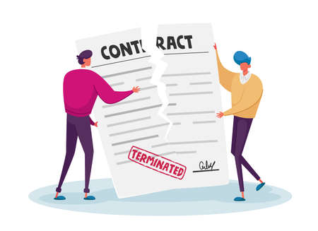 Contract Cancellation, Agreement Termination Concept. Couple of Tiny Male Characters Tearing Huge Paper Contract Sheet