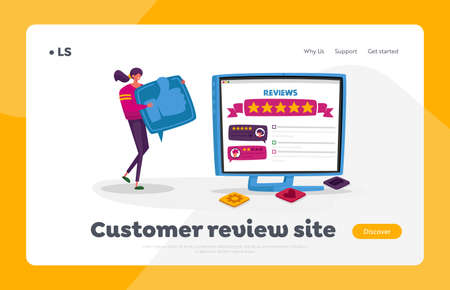 Online Review, Ranking Evaluation and Rating Landing Page Template. Tiny Female Character with Huge Thumb Up Icon
