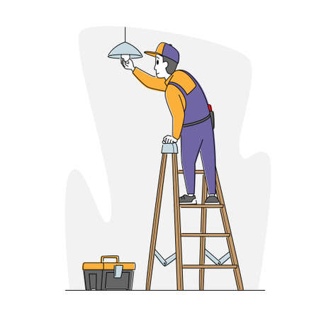 Man Worker Electrician Character Standing on Ladder in Living Room Hanging Lamp on Ceiling, Changing Burnt Light Bulbs Vetores