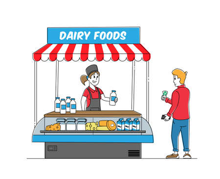 Saleswoman Character Sell Dairy Food Assortment in Kiosk. Customer Buying Milky Products in Supermarket or Farm Market