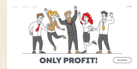 Business Colleagues Celebrate Success Landing Page Template. Successful Team Project Victory, Goal Achievement 矢量图像