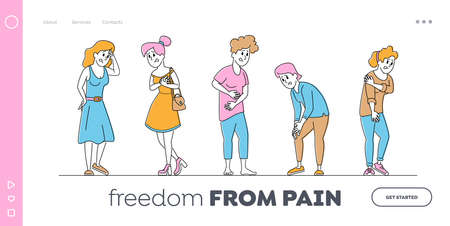 Female Characters Feeling Different Kinds of Pain Landing Page Template. Health Problem with Head, Chest, Stomach, Knee