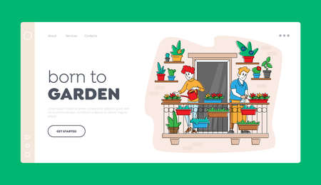 Couple Characters Care of Plants at Balcony Garden Landing Page Template. Homework Caring of Flowers, People Gardening 免版税图像 - 156935994