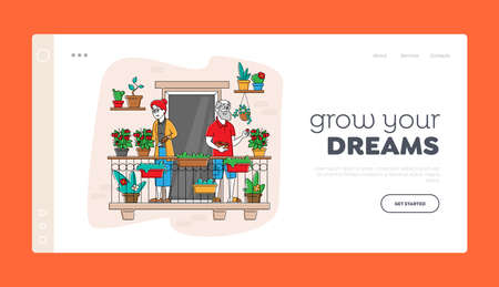 Senior Characters Enjoying Gardening Hobby Landing Page Template. Aged Gardeners Harvesting Tomatoes on Balcony Garden