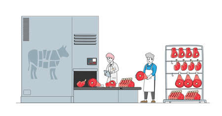 Meat Manufacture Concept. Workers Work on Meat Factory Processing Line Control Production Quality, Beef on Conveyor Belt 矢量图像
