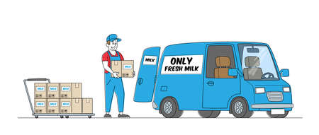 Dairy Food Delivery Service. Company Delivering Milk by Car. Worker Male Character Wear Uniform Loading Paper Packages