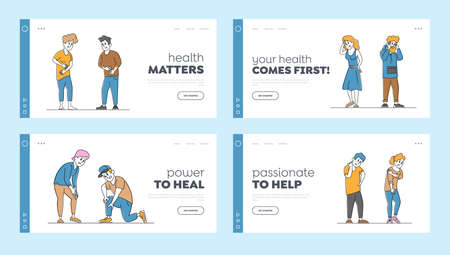 Couple Characters Feeling Different Kinds of Pain Landing Page Template Set. People Suffer of Ache in Knee, Neck, Back 矢量图像