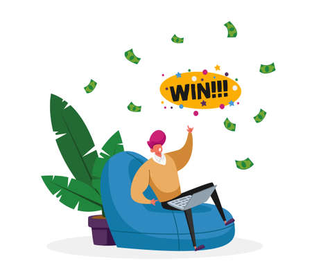 Happy Male Character Sitting with Laptop Comfortable Armchair Celebrate Win in Online Casino with Money Falling from Sky 矢量图像