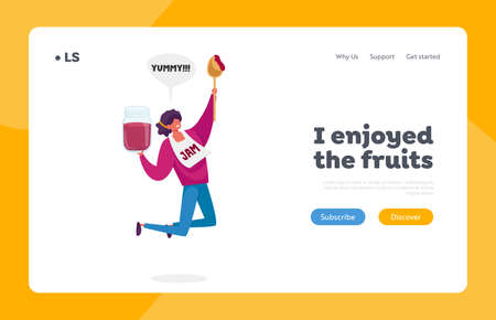 Homemade Preserve Production, Yummy Snack Landing Page Template. Tiny Female Character Happily Jumping with Huge Jam Jar