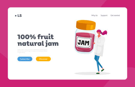 Confectionery Factory Sweet Production Landing Page Template. Tiny Female in White Robe Hold Huge Glass Jar with Jam 矢量图像