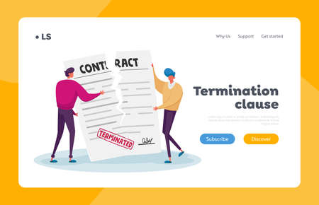 Contract Cancellation, Agreement Termination Landing Page Template. Tiny Characters Tear Huge Paper Terminated Contract