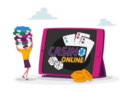 Tiny Female Character Carry Pile of Poker Chips at Huge Tablet Pc with Online Casino Application on Screen. Woman Gaming 免版税图像 - 156990300