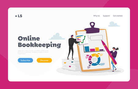 Financial Audit and Literacy Landing Page Template. Banker Advising, Bookkeeping. Tiny Accountants at Huge Clip Board 免版税图像 - 156990302