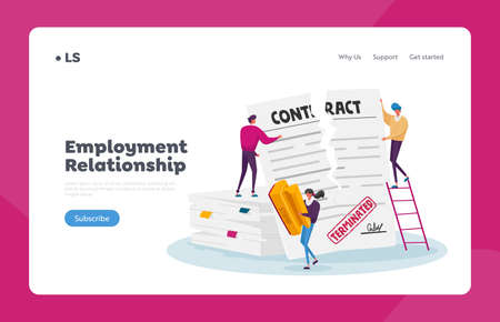 Crisis, Terminated Agreement, Bankruptcy or Cancellation Landing Page Template. Tiny Characters Tear Huge Paper Contract