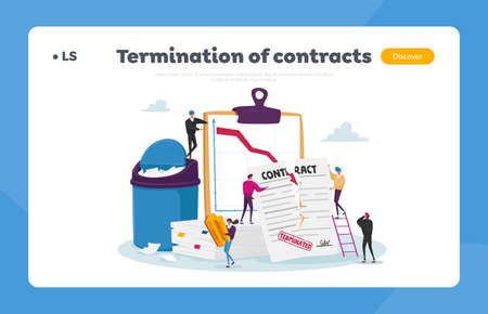 Tiny Characters at Huge Document Tear Terminated Contract Landing Page Template. Woman with Stamp at Scattered Papers 矢量图像
