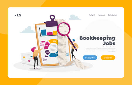 Tiny Accountants Make Accountant Report Landing Page Template. People Check Money Balance Calculate Bookkeeping Data 矢量图像