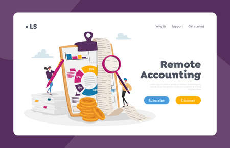 Accounting and Bookkeeping Landing Page Template. Tiny Accountant Characters at Huge Clip Board Filling Bookkeeping Data 矢量图像