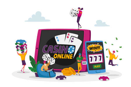 Characters Playing Gambling Games in Online Casino Win Jackpot Money Prize on Virtual Slot Machine and Poker, Addiction 免版税图像 - 156990322