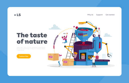 People Making Jam or Marmalade Landing Page Template. Tiny Characters Stand on Ladders at Huge Factory Machine