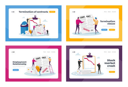 Tiny Characters at Huge Document Tear Terminated Contract Landing Page Template Set. Woman with Stamp at Scattered Paper 矢量图像