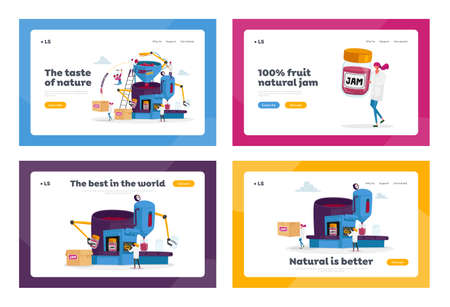 People Making Jam or Marmalade Landing Page Template Set. Tiny Characters Stand on Ladders at Huge Machine with Arms 免版税图像 - 156990337