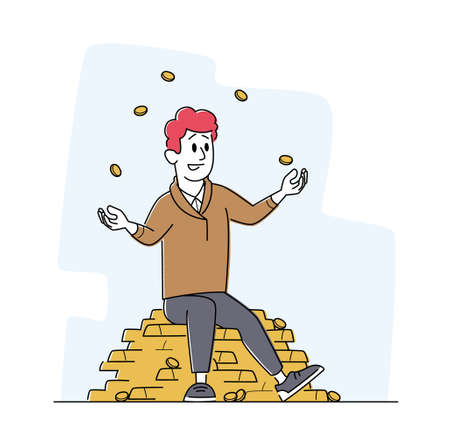 Rich Man Juggling with Gold Coins Sitting on Pile of Golden Bars. Successful Businessman, Investor or Lottery Winner