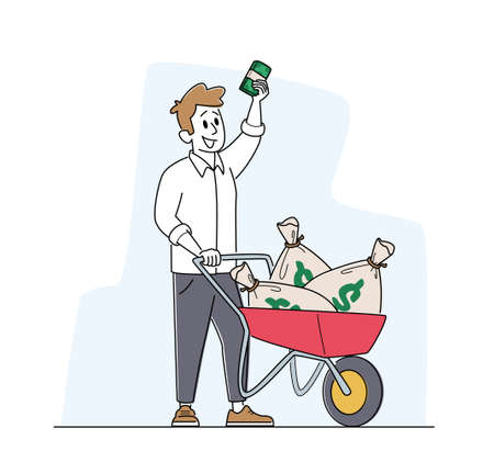 Rich Man with Wheelbarrow full of Dollar Sacks. Male Character Richness and Prosperity Concept. Successful Businessman