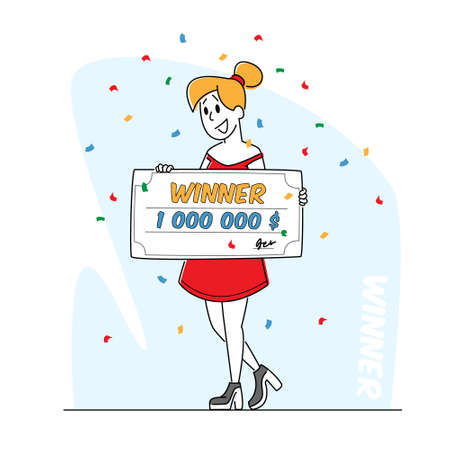 Lottery Winner Hold Huge Voucher on Million Dollars for Getting Money in Bank. Lucky Woman Rejoice for Get Paycheck Win 免版税图像 - 157301762