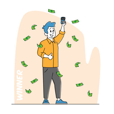 Lottery Winner Male Character Stand under Falling Money Rain with Lucky Tickets in Hand. Financial Freedom Concept 免版税图像 - 157301763