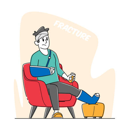 Injured Patient Man with Bounded Leg, Head and Arm Holding Bottle with Pills Sit in Armchair at Home or Hospital 矢量图像
