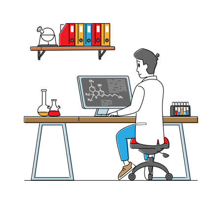 Male Scientist Work on Pc in Laboratory. Chemistry Science, Pharmaceutical Research Concept. Man Conducting Experiment