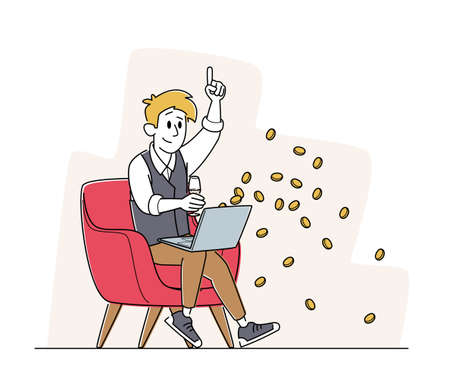 Happy Man Sitting with Laptop and Wine Glass in Armchair Celebrate Win in Online Casino with Money Falling from Screen 免版税图像 - 157301771
