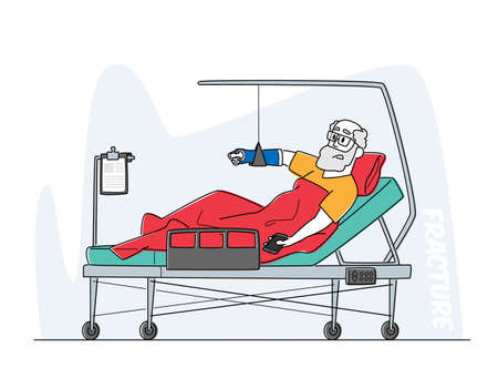 Senior Male Character Lying in Clinic Chamber with Broken Arm. Injured Bandaged Patient Lying on Bed with Bounded Hand