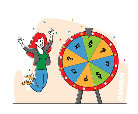 Lucky Woman Character Win Jackpot, Bingo Lottery on Fortune Wheel in Casino or Gaming House. Happy Girl Player Rejoice 矢量图像