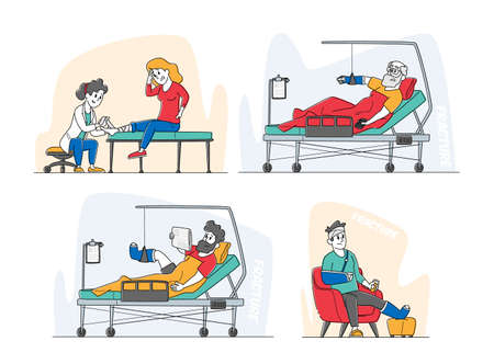 Set of Injured Patients, Doctor in Chamber, Characters with Fracture Lying on Bed with Bounded Head, Broken Arm and Leg