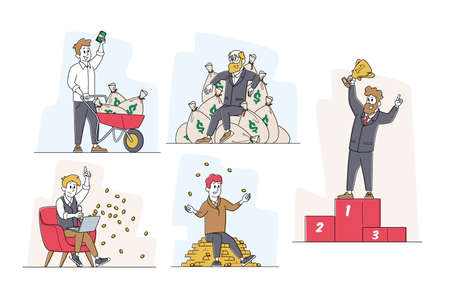 Set of Successful Business Male Characters in Formal Wear Posing with Trophy, Celebrating Victory Successful Project 矢量图像