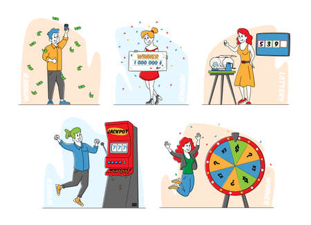 Set of Characters Gambling Game Winners, Financial Freedom Concept. Happy People Screaming Super Excited Get Jackpot 矢量图像