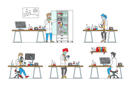 Set of Chemistry Scientists, Professional Chemist or Doctors Research Medical Experiment in Scientific Laboratory