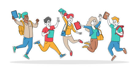 Set of Happy Students Characters Jumping with Backpacks and Textbooks. Schoolboys or Schoolgirls Laughing, Waving Hands 免版税图像 - 157291539
