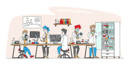 Chemistry Science Concept. Scientists Characters in Chemical Laboratory with Equipment, Computer, Microscope and Flasks 免版税图像 - 157291834