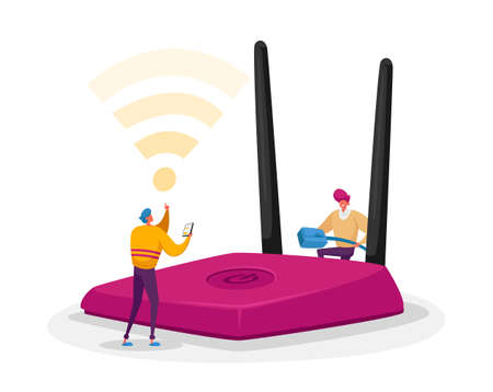 Wireless Connection, Modern Technology Concept. Tiny Male Characters Set Up and Use Wifi Router. People Surfing Internet 免版税图像 - 157502867