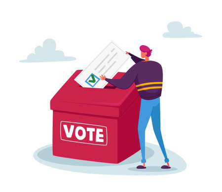 Man Put Huge Paper Ballot with Green Tick in Box. Vote, Election or Social Poll Concept. Tiny Voter Casting Ballots 免版税图像 - 157417949