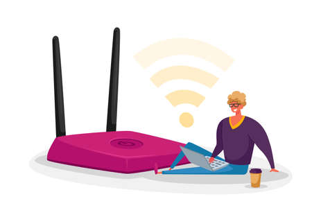 Tiny Male Character with Laptop and Coffee Cup Sitting at Huge Wifi Router Using Wireless Internet Connection Concept