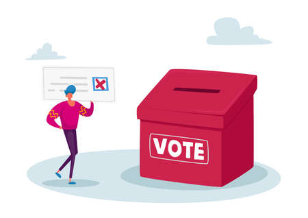 Vote, Election or Social Poll. Tiny Voter Male Character Casting Ballots at Polling Place During Voting Put Paper in Box Ilustrace