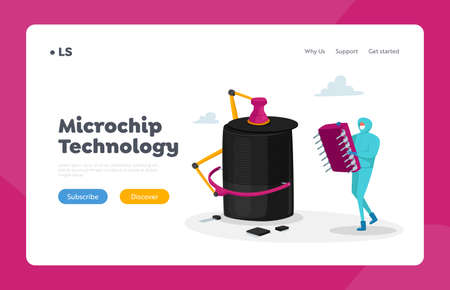 Technology Manufacture, Central Computer Processors, Cpu Landing Page Template. Tiny Character Set Up Huge Semiconductor 免版税图像 - 157503006