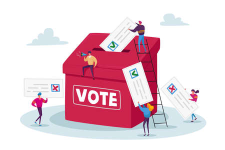 Election and Social Poll Concept. Tiny Voters Male and Female Characters Casting Ballots at Polling Place During Voting