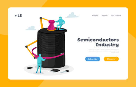 New Generation Semiconductor Microchip Manufacture Landing Page Template. Characters Set Up Huge Technological Wonder 免版税图像 - 157503012