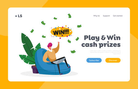 Man Win Money in Internet Landing Page Template. Happy Male Character Sitting with Laptop in Armchair Celebrate Win
